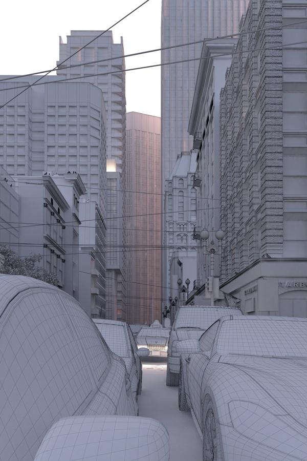 背景3D静止画のテクスチャ貼り前メッシュ参考