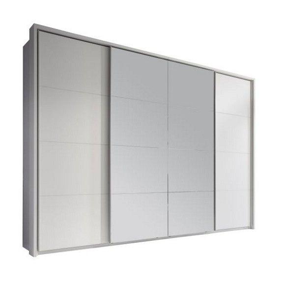 Wer Fashion liebt, gönnt seinen liebsten Kleidungsstücken ein angemessenes Zuhause. Mit diesem Schwebetürenschrank machen Sie dabei alles richtig: Großzügige Maße und eine praktische Aufteilung sorgen für System in Ihrer Garderobe. Auf einer Breite von ca. 325 cm bilden 4 Schwebetüren eine attraktive Front. Die Kombination aus weißer Dekorfolie und hochwertigem Spiegelglas schafft eine elegante Optik in Ihrem Schlafzimmer. Hinter den Schwebetüren finden