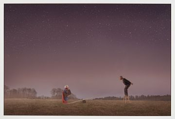 "Ole Marius Jørgensen 1976  ""#8 Off to the moon"" 2014 Gislèe print, 2/6. 60x94 cm Signert bak på platen  Fra serien: ""No superhero"""
