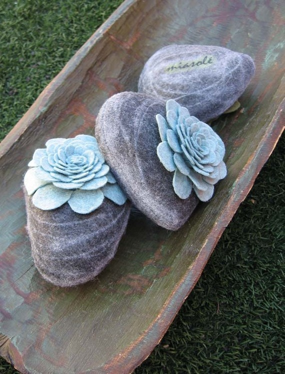 Felt succulents on stone