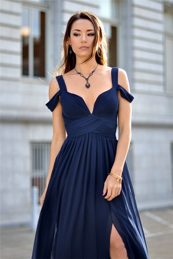 0527dc6c33 Elegant Navy Blue Chiffon Prom Dress 2019 Split Ruched BA2769 Item Code   CE0092  Ad