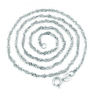 925 Solid Sterling Silver Water Wave Chain White Gold Plated