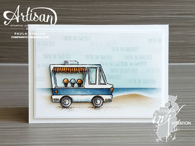 Paula Dobson - Stampinantics:  Tasty Trucks by the sea for Colour Inkspiration #03.  Click on the picture to see more of Paula's projects #pauladobson #stampinantics #tastytrucks #colourinkspiration