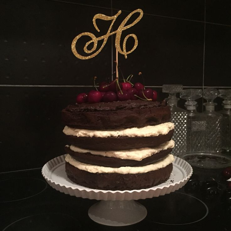 Black Forest naked layer cake with hand made H gold glitter cake ...