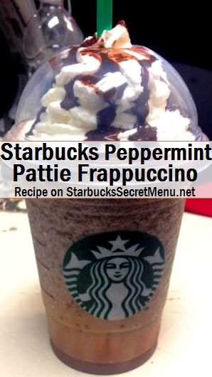 peppermint pattie frappuccino Start with a Vanilla Bean Frappuccino Add java chips Add peppermint syrup (1.5 pumps tall, 2.5 grande, 3.5 venti) Lightly coat the sides of the cup with mocha drizzle Top with whip and more mocha drizzle