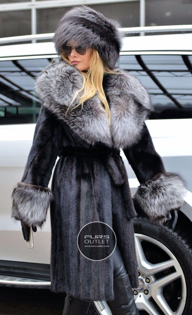 SAGA MINK TRENCH FUR COAT SILVER FOX BELT CLASS OF SABLE CHINCHILLA JACKET BLACK | eBay