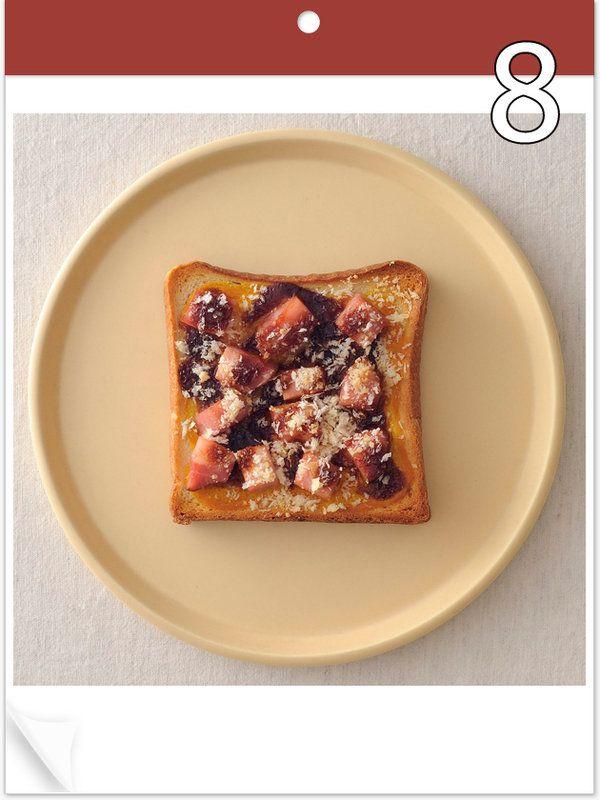 6月8日 「ハムカツトースト」 【使った材料】からし、コロコロのハム、とんかつソース、パルメザンチーズ入りパン粉