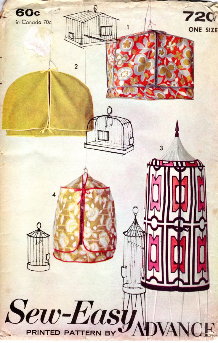1960s Bird Cage Covers - Vintage Pattern Advance 720 - UNCUT FF by ErikawithaK on Etsy