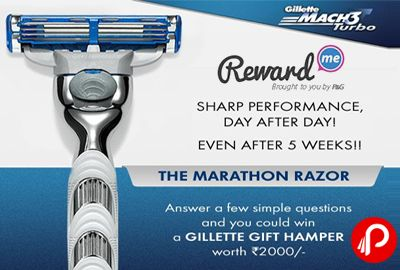 RewardMe brings The Marathon Razor offers to Win a Gillette Gift Hamper Worth Rs.2000, Answer a few simple Questions. Watch the video, answer 3 simple questions and 5 lucky winners will win a Gift voucher worth 2000/- each  http://www.paisebachaoindia.com/win-a-gillette-gift-hamper-worth-rs-2000-the-marathon-razor-rewardme/
