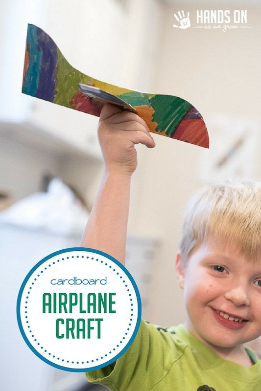 Make a fun airplane craft for pretend play with your kids! We just used simple cardboard from a cereal box, and it turned into hours of fun. via @handsonaswegrow