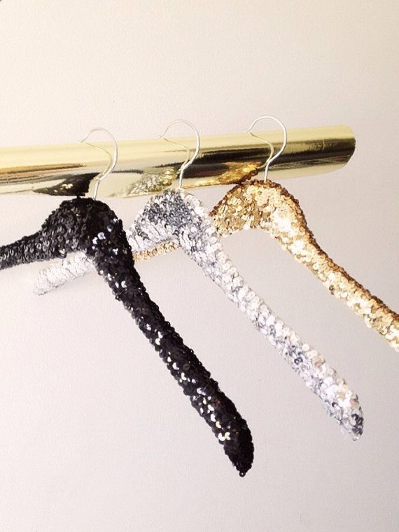 DIY sequin hangers with sparkle ribbon... Clothes won't fall off!