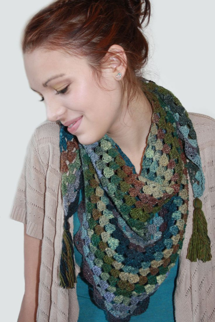 knot•sew•cute design shop: finished project - pretty triangle scarf by kim miller.