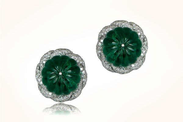 Rare and Important 33.17 Carats Emerald Turban Earrings surrounded by diamonds.