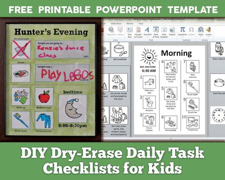 DIY dry erase daily task checklists for kids - FREE printable PowerPoint template and illustrations with basic computer tips - desktop publishing - organization, back to school - morning, after school, bedtime, chores, lunch and sample routine, ADHD natural