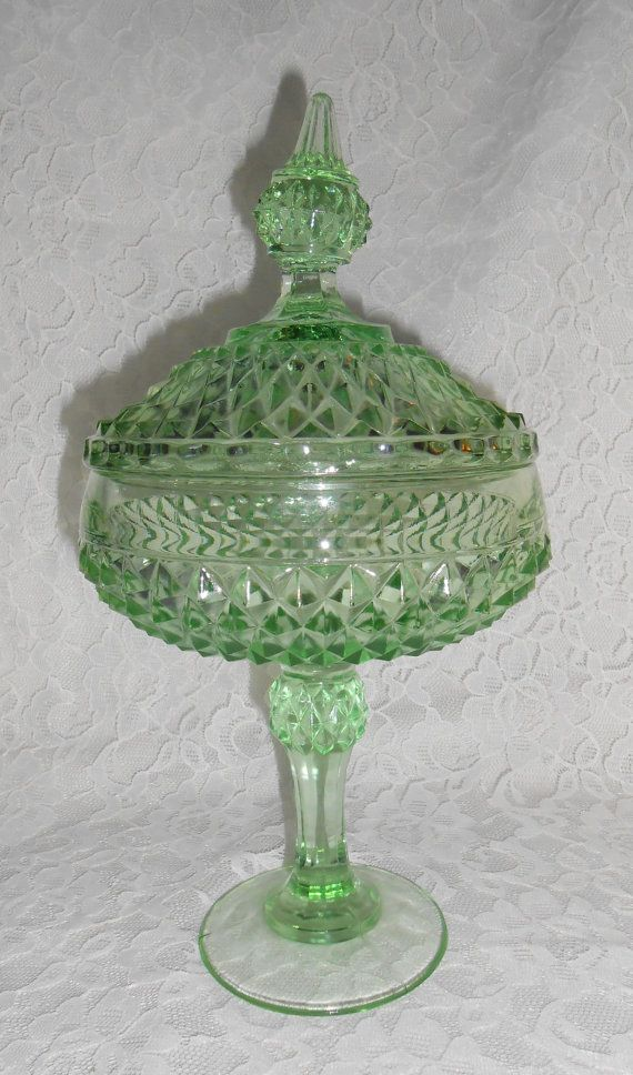 Vintage green depression glass compote dish with lid rare for Most valuable depression glass patterns
