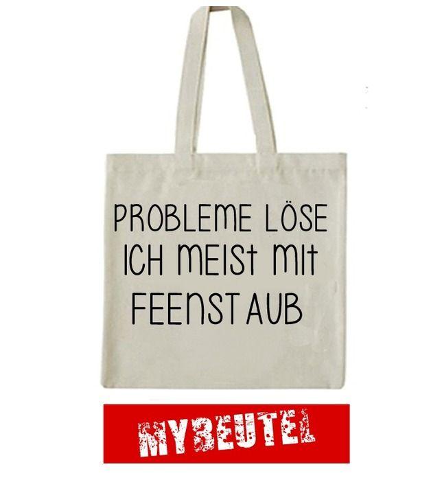 "Jutebeutel ""Probleme löse ich meist mit Feenstaub"" // totebag with writing by MyBeutel via DaWanda.com"