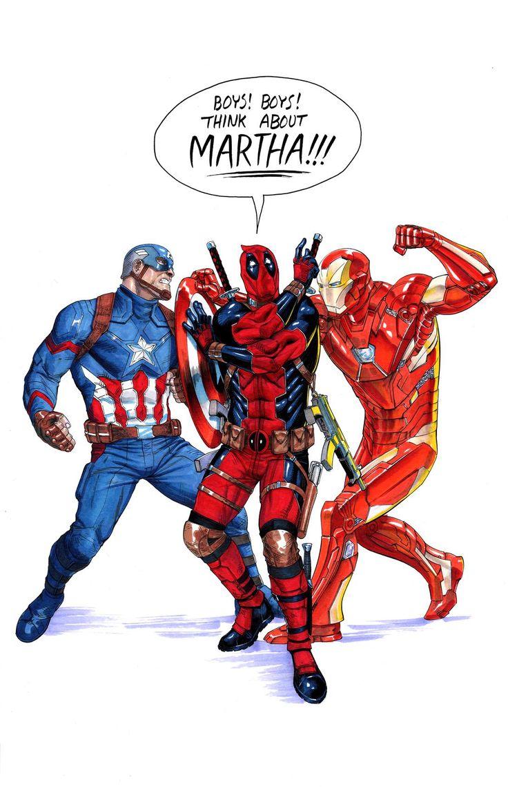 Captain America vs Iron man, and Deadpool