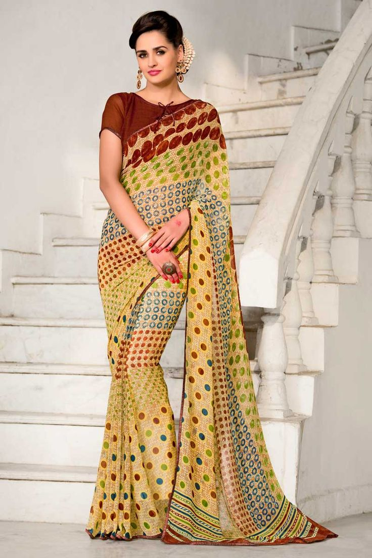 Multi Color Georgette Saree With Georgette Blouse Price:  £ 35 Multi Color, georgette Printed saree with coffee, georgette blouse.  Embellished with embroidery. Saree with Fancy Pallu and ,Boat Neck Blouse, Short Sleeve Blouse.  It comes with unstitch blouse, it can be stitched to 34,36,38,40 sizes.  http://www.andaazfashion.co.uk/womens/sarees/multi-color-georgette-saree-with-georgette-blouse-dmv9163.html