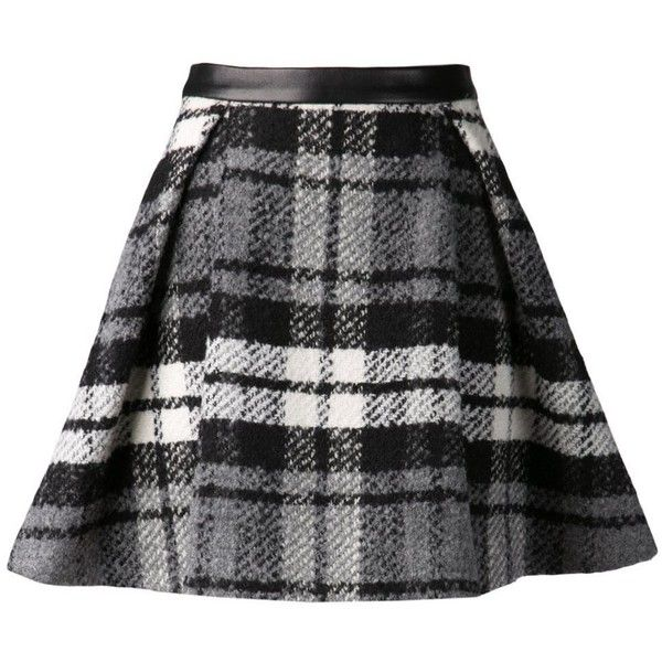 Black And Grey Plaid Skirt