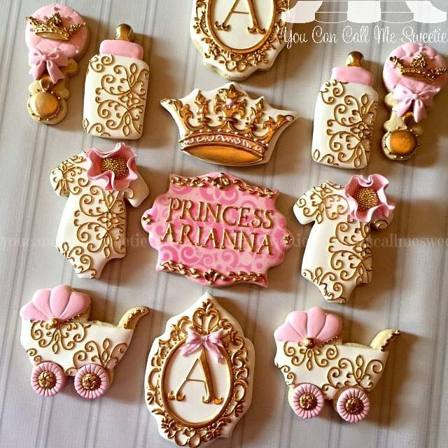 Princess pink gold baby shower cookies