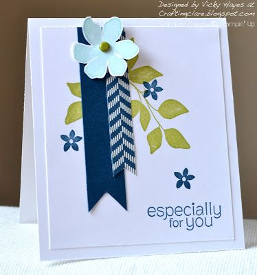 handmade card ... sweet and simple ... stamped leaves and flowers from Summer Silhouettes ... two fishtail banners ... navy, olive, white ... fresh look ... Stampin' Up!