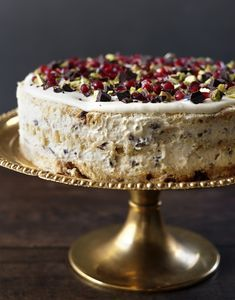 Not strictly baking, this cake, but a beautiful assembly of candied chestnuts, mascarpone, panettone, chocolate and pomegranate. Bellissima!