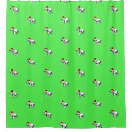 Happy Christmas Elephant Lime Green Shower Curtain