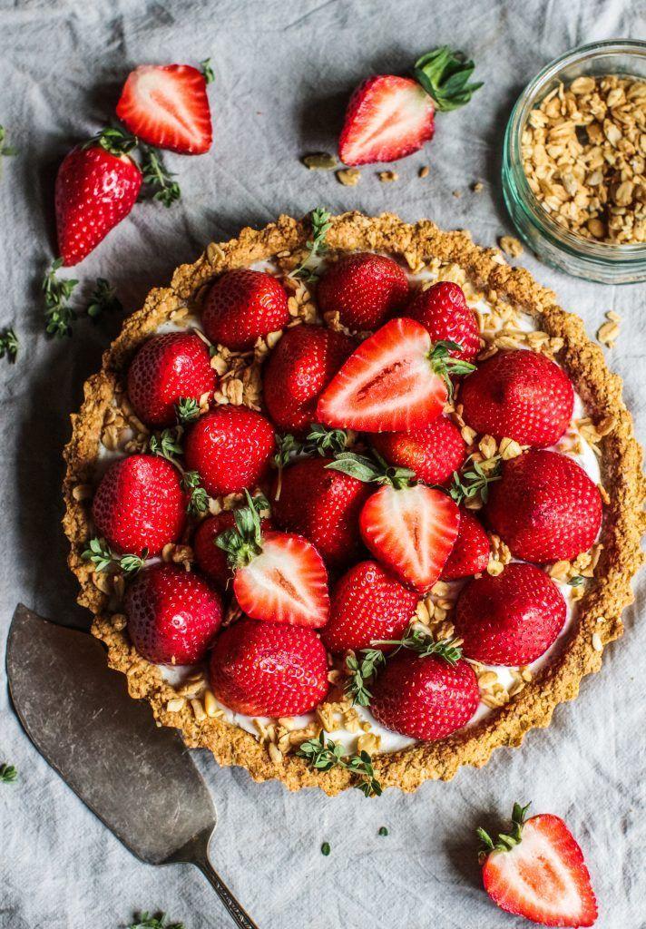 Strawberry Coconut Cream Tart With A Crispy Oat Crust Vegan