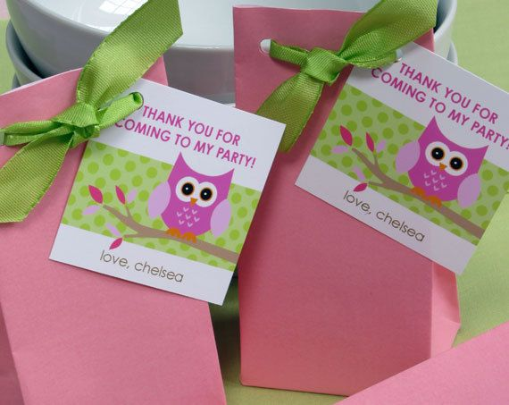 Little Owl Girl Party Favor Tags or Stickers by paperspice on Etsy, $6.00