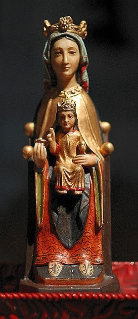 """Stone-polychrome statue """"Nuestra Senora"""", made in Spain, from the collection of the Marianum, photographed at the Cathedral of Saint Peter, in Belleville, Illinois, USA 