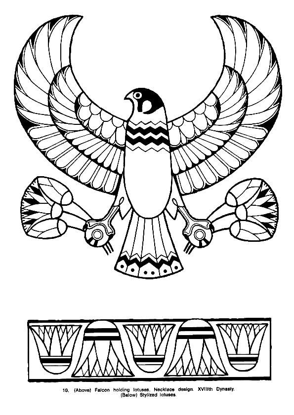 Un faucon, un oiseau représentant un grand dieu égyptien, à colorier.