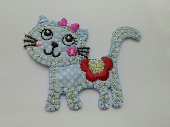 Blue Kitty with Red Flower Iron On Applique, Fabric Iron On Patch (SW05)