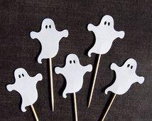 Halloween Cupcake Toppers, Geister, Party Dekoration, Halloween Dekor, weiß, doppelseitig, Spuk, Spaß, Satz von 15