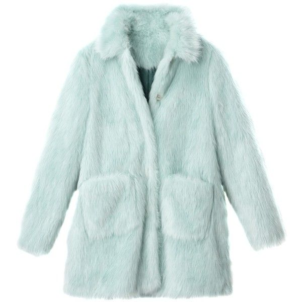 Faux fur coat, sea green, MADEMOISELLE R found on Polyvore featuring outerwear, coats, green faux fur coat, fake fur coat, green coat, imitation fur coats and faux fur coat