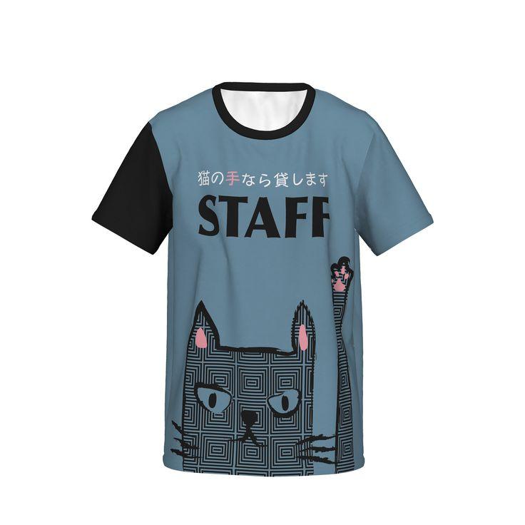 業種を問わないイヴェントでのスタッフ用Tシャツです。女性用サイズにはピンク、ミドルサイズには黒、男性サイズにはモノトーンを用意してあります。/Staff Shirt-neko Black - casataco