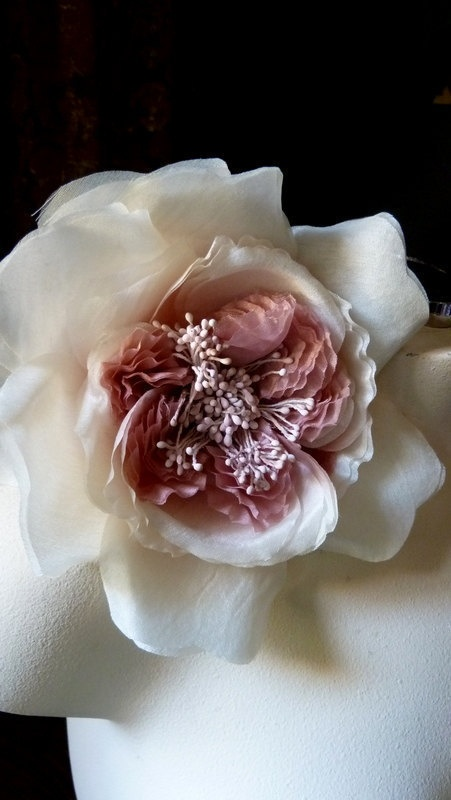 Silk Millinery Flower in Shaded Old Rose for par MaryNotMartha