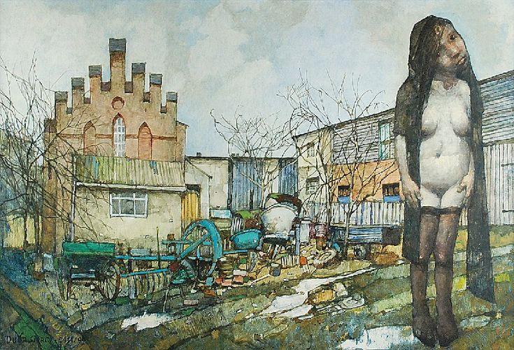 Jerzy DUDA-GRACZ (1941-2004)  Obraz 2414 - Rybokarty - Requiem dla PGR-u, 1999 olej, płyta; 69 x 100 cm;