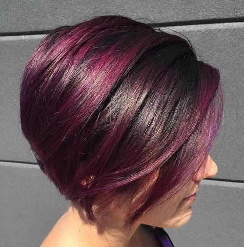 stacked violet red balayage bob