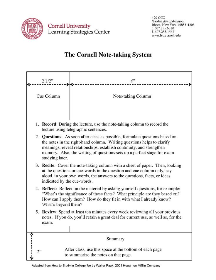 Cornell Notes Study Strategies Pinterest Cornell notes - cornell note taking template