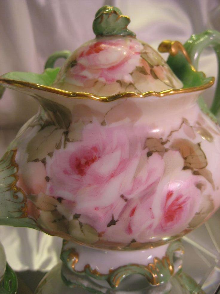 Magnificent RARE MOLD BEAUTY Limoges France Antique Victorian Tea Set ~ Creme de la Creme ~ Hand Painted ROSES w Gold Spider Web Details ~ M...  <3