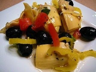 Marinated Artichoke Salad - artichoke, black olives, banana peppers, tomatoes, green onion, white wine vinegar, canola oil, garlic powder, dried oregano, dried parsley, dried basil, salt