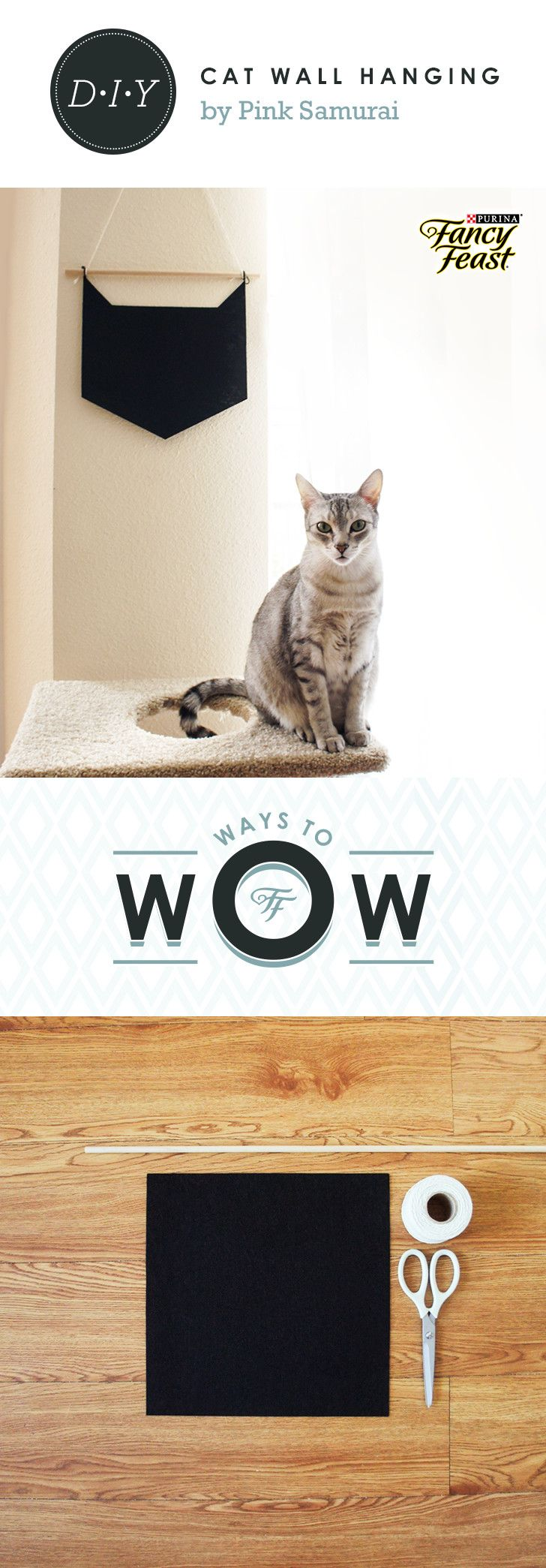 """Geometric Cat Wall Hanging: This cute and contemporary DIY wall decoration will wow cats and cat lovers alike. Click through to see the how-to from Becky Helms of The Pink Samurai. #WaysToWow Supplies: Black Felt (12"""" x 12"""") - Dowel Rod (at least ¼"""" thick) - Twine - Scissors."""