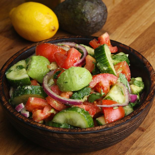 Cucumber, Tomato, And Avocado Salad1 English cucumber, diced 4 Roma tomatoes, diced 3 ripe avocados, diced ½ red onion, thinly sliced ¼ cup cilantro, chopped 1 lemon, juiced Salt, to taste Black pepper, to taste 2 tablespoons extra virgin olive oil