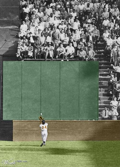 "Willie Mays' ""The Catch"" on September 29, 1954, during Game 1 of the 1954 World Series between the New York Giants and the Cleveland Indians at the Polo Grounds"