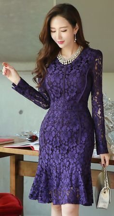 StyleOnme_See-through Floral Lace Long Sleeve Dress #purple #lace #dress #seethrough #feminine #floral #koreanfashion #kstyle #falltrend #seoul