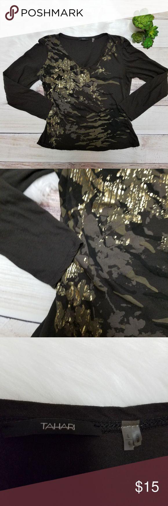 "Tahari brown metallic long sleeve top Tahari brown metallic long sleeve top. Women's size large. 100% cotton. NWOT. Bust: 18"" laid flat Length: 20"" Tahari Tops Tees - Long Sleeve"