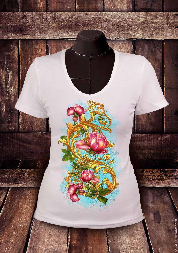 Купить Футболка женская Розы - футболка, футболка с рисунком, футболка на заказ, футболка с принтом