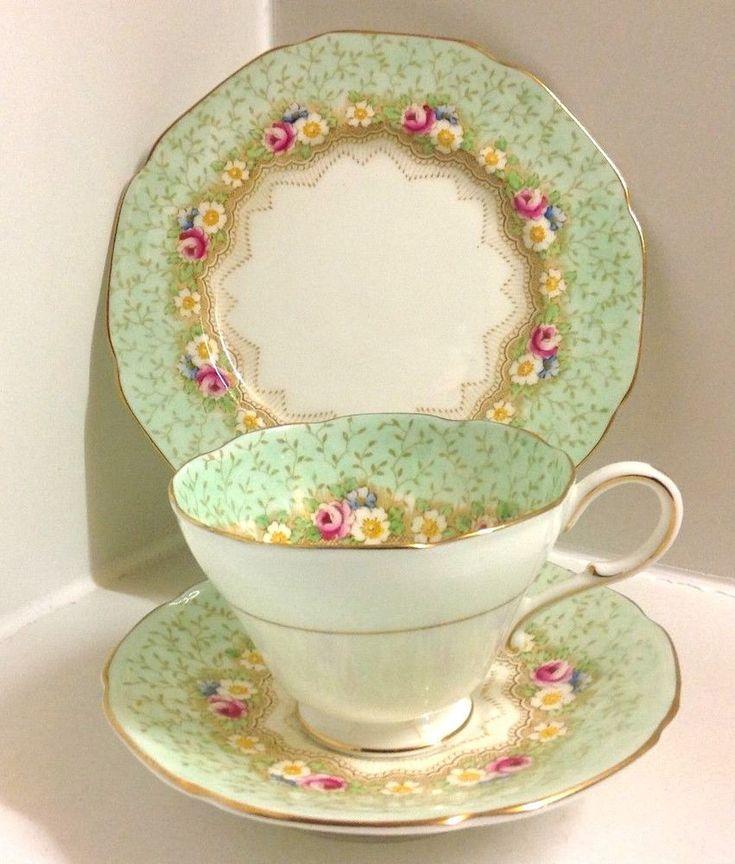 "Paragon Art Deco "" Damask Rose "" Pattern English Bone China Tea Set Trio | Pottery, Porcelain & Glass, Porcelain/China, Paragon | eBay!"