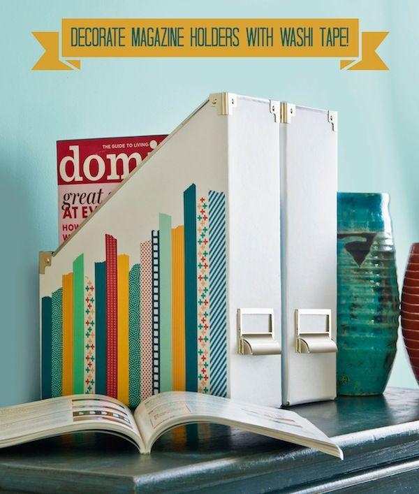 Decorating magazine holders with washi tape