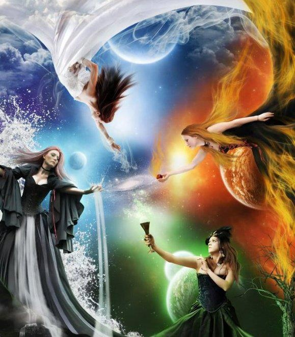 Earth, wind, fire, and water fairies